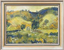 Sale 9123 - Lot 2005 - Eva Kellermann Country Valley and Farmhouseoil on canvas on board, 48 x 61cm (frame), signed. Provenance: Estate of Dora Toovey -