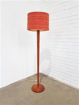 Sale 9134 - Lot 1090 - Vintage turned timber floor lamp with fabric shade by H. Michel (h:124 x d:34cm)