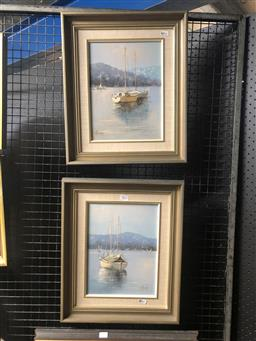 Sale 9130 - Lot 2032 - Fay Joseph (2 works ) Moored Sailing Boats in Middle Harbour, oil on boards, frame: 44 x 37 cm each ,both signed lower left -