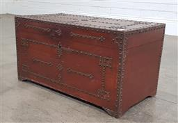 Sale 9188 - Lot 1266 - Small timber lidded trunk with studded detail (h:36 x w:70 x d:35cm)