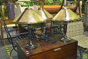 Sale 8227 - Lot 1098 - Set of 5 Amber Shade Table Lamps