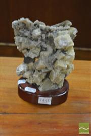 Sale 8307 - Lot 1035 - Mounted Green Calcite w Amethyst Piece 1.39kg