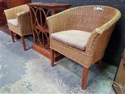 Sale 8672 - Lot 1005 - Pair of Wicker Outdoor Tub Chairs with Cushion Seat