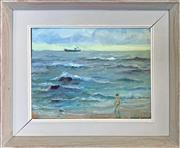 Sale 8964 - Lot 2010 - Richard Ashton Figure on the Beach and Distant Ship 1989oil on board, 22 x 27cm; (frame: 34 x 39 x 3cm), signed and dated lower right