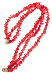 Sale 8999 - Lot 399 - A RED CORAL NECKLACE; triple strand of 13-14mm coral fingers to a gilt clasp, length 50cm.