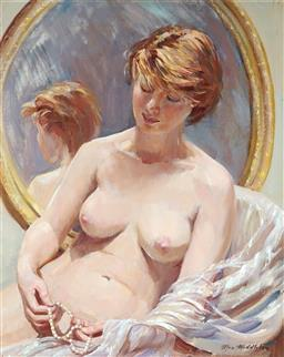 Sale 9244 - Lot 557 - MAX MIDDLETON (1922 - 2013) Nude with Pearl String oil on canvas 50 x 39.5 cm (frame: 68 x 57 x 4 cm) signed lower right