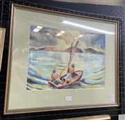 Sale 9016 - Lot 2014 - Artist Unknown Fishermen and Distand Island Views gouache  41 x 51cm (frame) signed lower right
