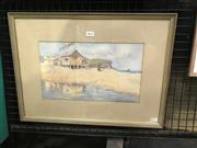 Sale 9033 - Lot 2023 - Winifred Caddy Summer & Beach Huts, watercolour, frame : 39 x 53 cm, signed lower right,