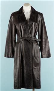 Sale 9071F - Lot 100 - A BLACK GENUINE LEATHER TRENCH COAT, EXPRESS WORLD BRAND with pointed collar & self belt to waist size S