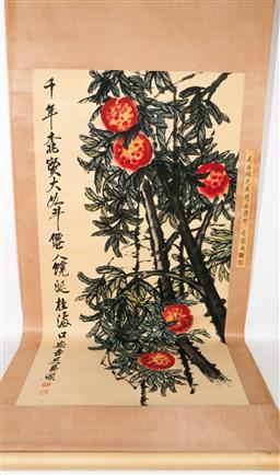 Sale 9098 - Lot 70 - A Large Chinese Handpainted Scroll Depicting Peaches (image L134cm W68cm)