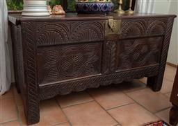 Sale 9120H - Lot 266 - A carved timber coffer with brass and floral carvings to front and side, Height 68cm x Width 127cm x Depth 56cm