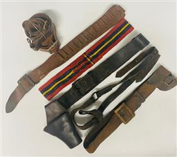 Sale 9130E - Lot 94 - A collection of brown leather belts including gun holder, ammunition carrier