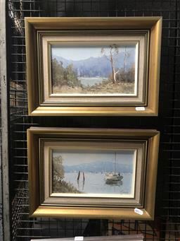 Sale 9130 - Lot 2030 - Fay Joseph (2 works) Pittwater & Tumut Valley, 1985, oil on boards, frame: 26 x 36 cm, both signed lower right -