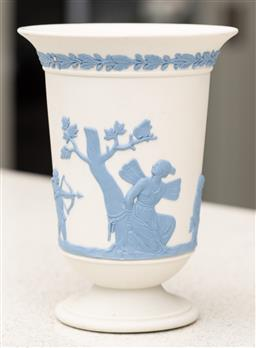 Sale 9162H - Lot 20 - A Wedgwood white jasperware trumpet vase with blue immortal decoration, Height 13.5cm