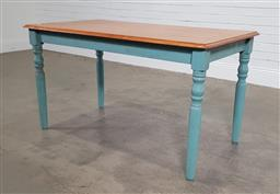 Sale 9188 - Lot 1315 - Kitchen table with painted base (h:75 x w:137 x d:77cm)