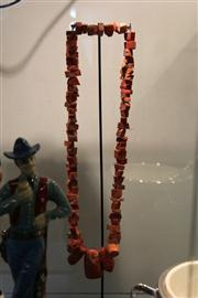 Sale 7989 - Lot 57 - Coral Bead Necklace on Stand