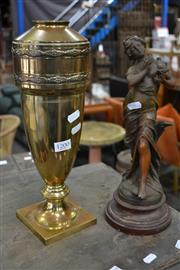 Sale 8013 - Lot 1200 - Brass Urn with Bronze Style Figure