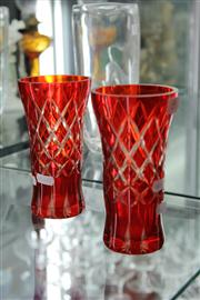 Sale 8098 - Lot 48 - Pair of Red Coloured Glass Vases