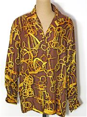 Sale 8173F - Lot 329 - A VINTAGE GUCCI SILK SHIRT; horse bit print with gilt metal cuff links and buttons (44).