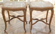 Sale 8470H - Lot 148 - A pair of Louis XV style carved beech side tables with rouge marble tops on cabriole legs with stretches, H 56cm