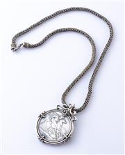 Sale 8550F - Lot 109 - An 1890 silver crown on a silver woven chain, 80.4g.