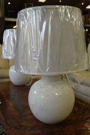 Sale 8550 - Lot 1392 - Pair of 1970s Style Italian Hand Made Bagni Table Lamps with White Leaf Motifs (VINT1)