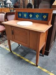 Sale 8676 - Lot 1070 - Tiled Back Wash Stand with Single Door
