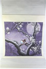 Sale 8815 - Lot 66 - 2x Chinese Scrolls w Winter Scene of Birds Amongst Branches & Calligraphy