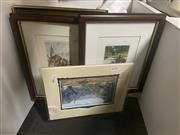 Sale 8981 - Lot 2076 - 5 Works: A Group of four (4) etchings including European town scenes and flowers & 1 oil mounted on card, largest 32 x 25 cm