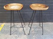 Sale 8996 - Lot 1039 - Pair of Timber Top Metal based Barstools (h:76 x w:38cm)