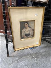 Sale 9069 - Lot 2007 - Artist Unknown, Peasant Woman in a Blue Shawl, oil on board, frame: 44 x 34 cm