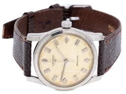Sale 9145 - Lot 388 - A VINTAGE LONGINES AUTOMATIC WRISTWATCH; ref; 2554-340 in stainless steel with target dial, centre seconds, geometric markers; 17 je...