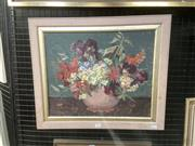 Sale 9091 - Lot 2012 - Mary Troy (1889-1973) Floral Still Lifeoil on board, 49 x 57cm (frame) signed