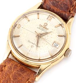 Sale 9140 - Lot 370 - A FINE VINTAGE 18CT GOLD OMEGA CONSTELLATION AUTOMATIC CHRONOMETER WRISTWATCH; with Pie Pan dial, applied markers, dauphine hands, c...