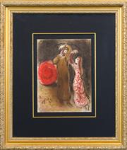 Sale 8269A - Lot 78 - Marc Chagall - Meeting of Ruth & Boaz 35 x 26cm