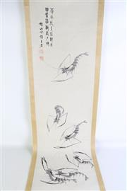 Sale 8909S - Lot 632 - Chinese scroll featuring six shrimps, L177cm