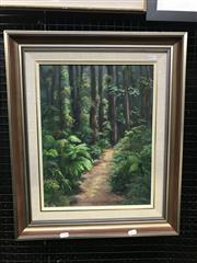 Sale 8981 - Lot 2029 - Jo Perkins A Walk In The Woods, oil on board, frame: 60 x 50 x 5 cm, signed lower right