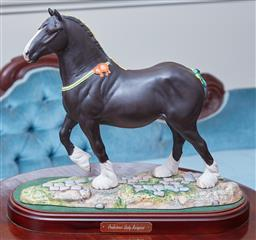 Sale 9103M - Lot 476 - A Royal Doulton ceramic figure of a champion shire horse Peakstones lady Margaret DA237 with a matte finish, on timber base, Total...