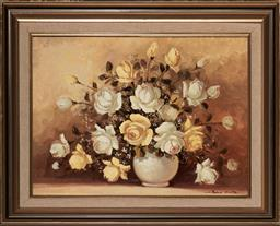 Sale 9109A - Lot 5079 - John Pinto (1926 - 2009) A Vase of Yellow & White Roses oil on board 44.5 x 59.5 cm (frame: 63 x 77 x 3 cm) signed lower right