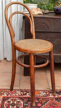 Sale 9120H - Lot 268 - A Bentwood chair with cane woven seat, Height of back 82cm  loose fitting