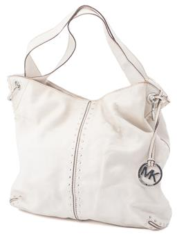 Sale 9149 - Lot 565 - A MICHAEL KORS ASTOR HOBO BAG; in a pearl white pebbled leather, with silver hardware and MK logo on leather chain, with lined Mich...