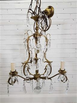 Sale 9174 - Lot 1179 - French style bronze chandelier with three arms (88cm)