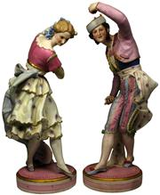Sale 8065 - Lot 43 - French Late 19th Century Pair of Hand Painted Bisque Figures Probably Choisy-Le-Roy