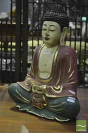 Sale 8307 - Lot 1014 - Painted Timber Seated Buddha