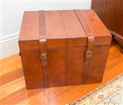 Sale 8308A - Lot 115 - A leather clad storage box with canvas lining to interior, H 39 x W 51 x D 39cm