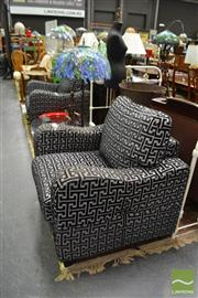 Sale 8489 - Lot 1011 - Pair of Modern Grey Upholstered Armchairs
