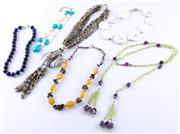Sale 8550F - Lot 120 - Six multicolour beaded necklaces including lapis lazuli, turquoise, amethyst, agate, tigerseye.