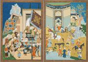 Sale 8548 - Lot 2014 - Indo-Persian School (2 works) - Court and Village Scenes 40 x 28.5cm