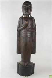 Sale 8566 - Lot 1148 - Large Carved Timber Figure of a Buddhist Priest (100)