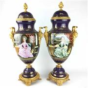 Sale 8995H - Lot 77 - A Sevres style twin handled lidded urns, total height including stand 70cm